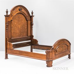 Large Renaissance Revival Carved Walnut Bed