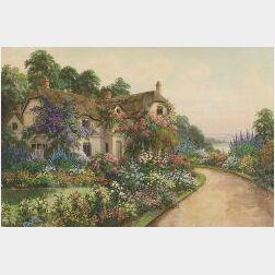 Joseph Halford Ross (British, b. 1866)  The Cottage Garden in Bloom