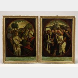 Pair of Giltwood Framed Biblical Mezzotints