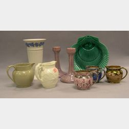 Seven Assorted Wedgwood Ceramic Items and a Pair of Ruskin Pottery Lustre   Candlesticks