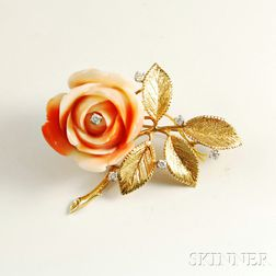 14kt Gold, Diamond, and Coral Flower Brooch