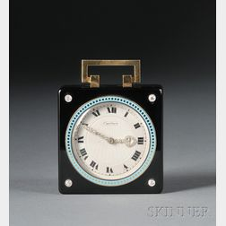 "Art Deco Onyx, Enamel, and Diamond Travel ""Pendulette,"" Cartier"