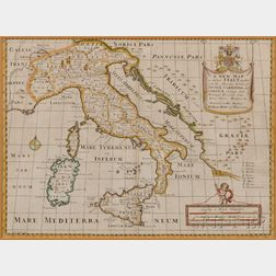 Map of Italy.   A New Map of Antient Italy, together with the Adjoyning Islands of Sicily, Sardinia, and Corsica