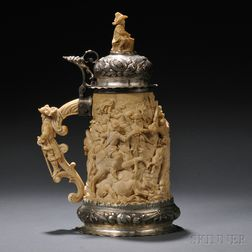 Silver-mounted Carved Ivory Tankard