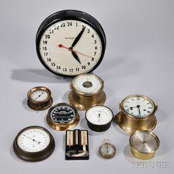 Ten Aneroid Barometers and Clocks