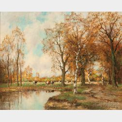 Willem Hendriks Jr. (Dutch, 1888-1966)      Autumn Landscape with Cows by a Pond