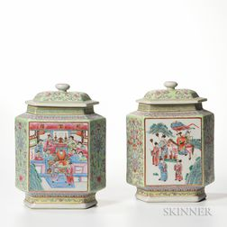 Pair of Famille Rose Covered Jars