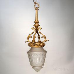 Gilt-bronze and Cut-glass Hanging Light Fixture