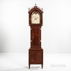 Carved and Inlaid Mahogany Tall Clock