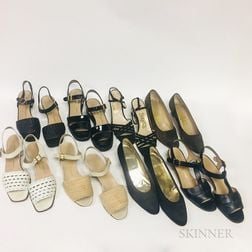 Fourteen Pairs of Ferragamo Women's Shoes