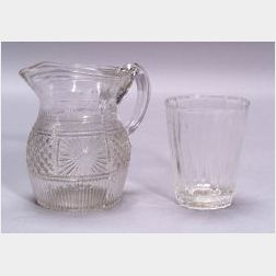 Colorless Blown Three-Mold Glass Jug and Small Flip Glass