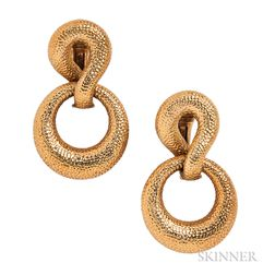 18kt Gold Day/Night Earrings