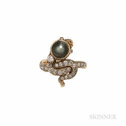 Antique 18kt Gold, Pearl, and Diamond Snake Ring