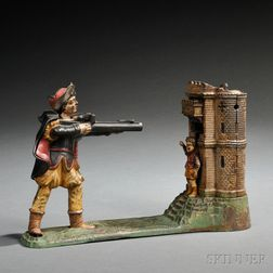 "Painted Cast Iron Mechanical ""William Tell"" Bank"