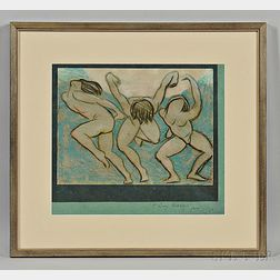 Perrine, Van Dearing (1869-1955) Studies of Isadora Duncan Dancing and One Framed Pastel, Inscribed.