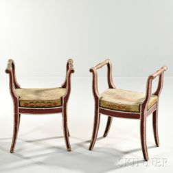 Pair of Neoclassical Painted Window Seats