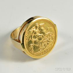 1906 Gold Sovereign Coin in an 18kt Gold Mount