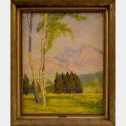 European School, 19th Century    Landscape with Birches