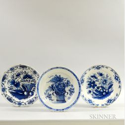 Three Blue and White Floral-decorated Delft Chargers