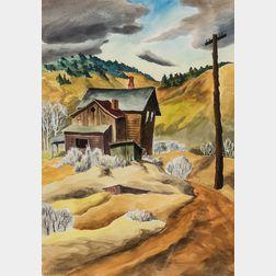 Martha Burchfield-Richter (American, 1924-1977)      Farmstead in the Valley