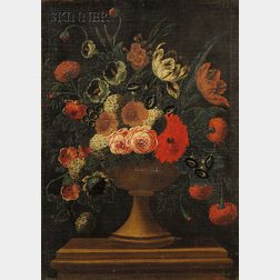 Flemish School, 17th Century Style      Formal Floral Still Life with Hydrangea, Tulips, and Roses