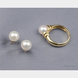18kt Gold and Cultured Pearl Suite, Mikimoto