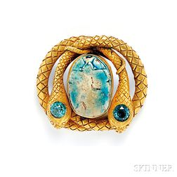 Antique Gold, Faience Scarab, and Zircon Brooch