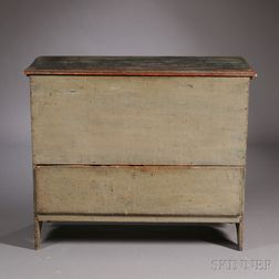 Olive Green-painted Pine Chest over Drawer