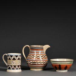 Three Mochaware Pottery Items