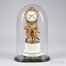 French Gilt Brass and Marble Statuary Clock with Dome
