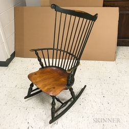 Reproduction Green-painted Fan-back Windsor Armed Rocking Chair