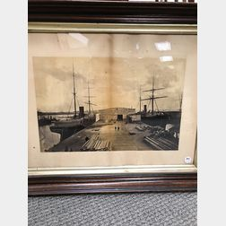 Framed A.H. Folsom Albumen Photograph of Boston Savannah Steamships
