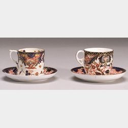 Nine Assorted Derby Porcelain Coffee Cups and Saucers
