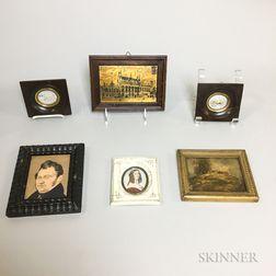 Five Miniature Portraits and Landscapes.     Estimate $200-250