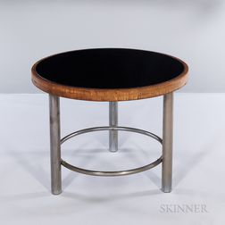 Round Smoked Glass-top Table with Brushed Tubular Steel Base