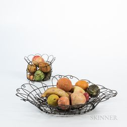 Two Wirework Baskets of Stone Fruit