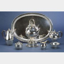 """Seven Piece Georg Jensen Sterling """"Cosmos"""" Tea and Coffee Service"""