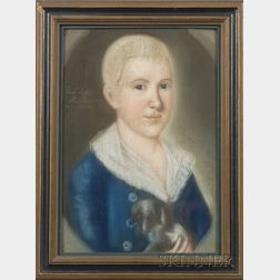 """Attributed to Benjamin Blyth (American, 1746-1811)    """"Eban'r Syms Aet. 13 years & 7 months."""""""