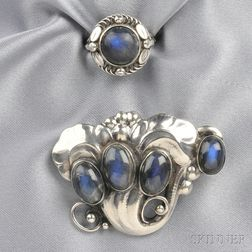 Silver and Labradorite Brooch and Ring, Georg Jensen