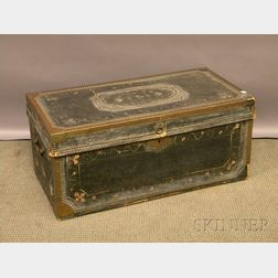 Chinese Export Brass-mounted Polychrome Paint-decorated Black Leather-clad   Camphorwood Trunk