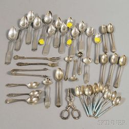 Large Group of Mostly Coin and Sterling Silver Teaspoons and Demitasse Spoons