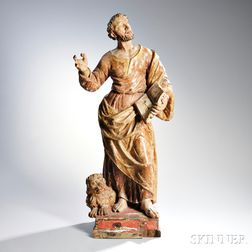 Continental Carved and Painted Figure of Saint Mark