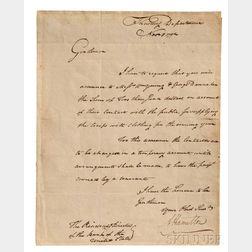 Hamilton, Alexander (1757-1804) Letter Signed, 5 November 1792.
