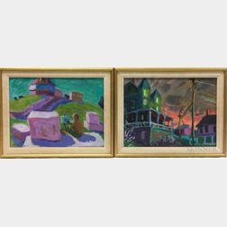 Peter Agrafiotis (American, 20th/21st Century) Three Framed Townscapes: Lincoln Perry Painting Fort McCleary, Houses Silhouetted Agains