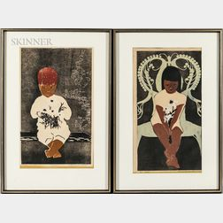 Rosalind Smith (American, 20th Century)    Two Prints of Children Holding Flowers: Rusti