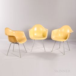 Three Ray and Charles Eames for Herman Miller Shell Armchairs