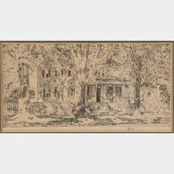 Childe Hassam (American, 1859-1935)      House on Main Street, Easthampton
