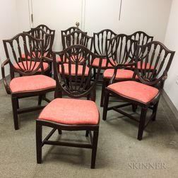 Set of Ten Federal-style Mahogany Shield-back Chairs.