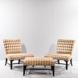 Two Michael Taylor (1927-1986) for Baker Lounge Chairs and an Ottoman