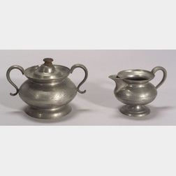 Engraved Pewter Covered Sugar Bowl and Creamer